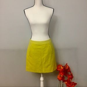 J. Crew chartreuse yellow wool blend mini skirt